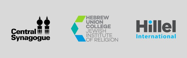 Central Synagogue, HUC-JIR, and Hillel International Logos